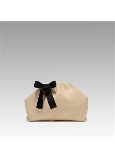 Black Ribbon Burslu Büyük Çanta Krem
